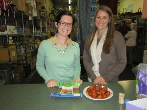 Courtney and Allison present to North Side pantry participants and volunteers about making turkey meatballs